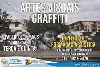 Centro de Formação Artística de Registro-SP divulga duas novas Oficinas gratuitas