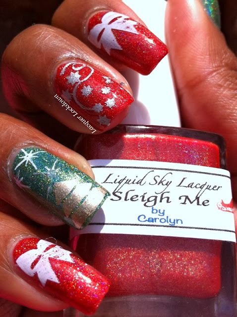 Lacquer Lockdown - Liquid Sky Lacquer Sleigh Me, Liquid Sky Lacquer Ever Green, christmas nail art, christmas trees, bow nail art, bows, stars, snow, gift wrap nails, hologiraphic, indie polish, apipila cosmeticos, apipila 05, apipila, stamping, nail art, chirstmas nails, xmas nails, holiday nail art, cute nais, easy nail art, simple nail art, bundle monster, konad, essie as gold as it gets, essie no place like chrome