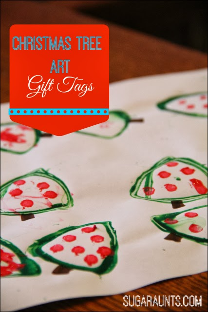 Christmas Tree Art Gift Tags or DIY wrapping paper. By Sugar Aunts