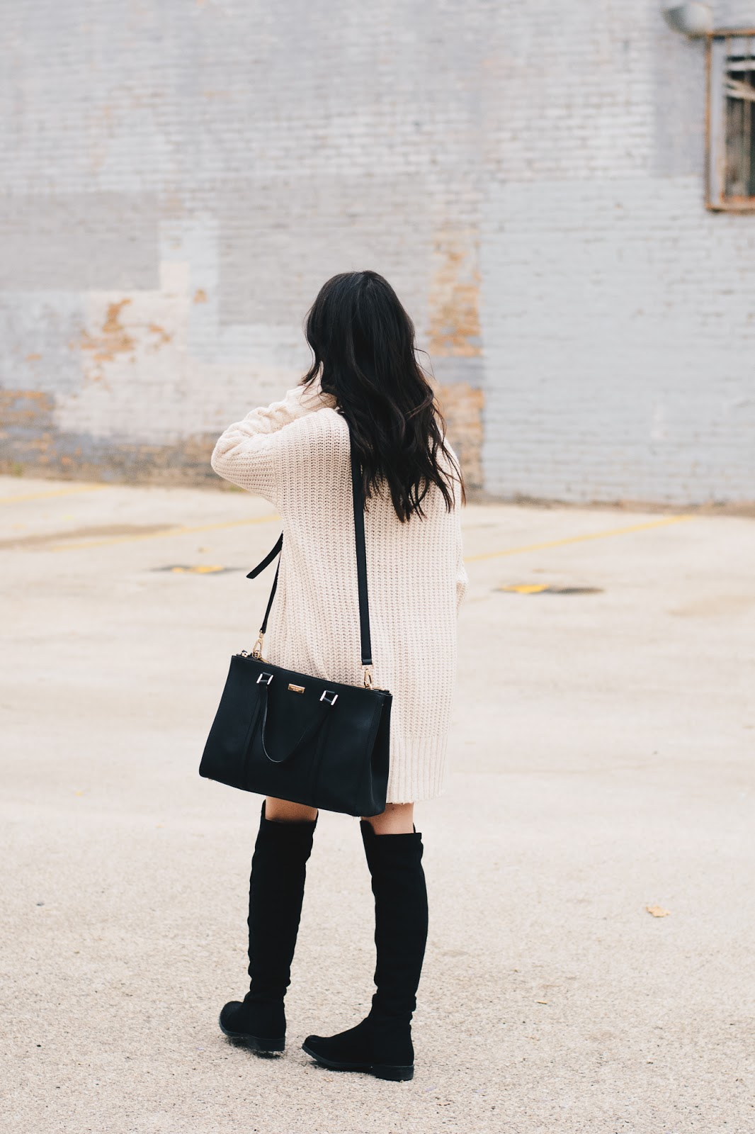 Chunky Knit Cardigan, Kate Spade Bag and OTK Boots for Fall Style