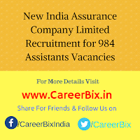 New India Assurance Company Limited Recruitment for 984 Assistants Vacancies
