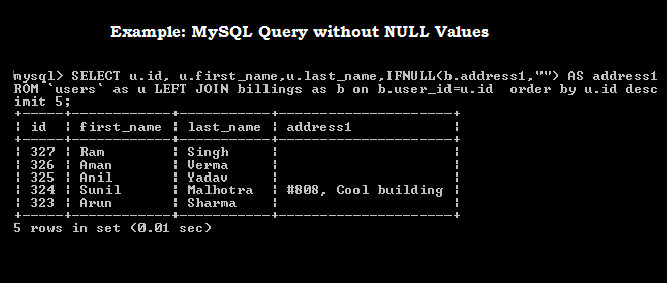 Give an Example to replace the NULL with empty string in mysql query