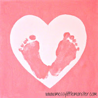 valentines day craft ideas for kids:  baby footprint keepsake