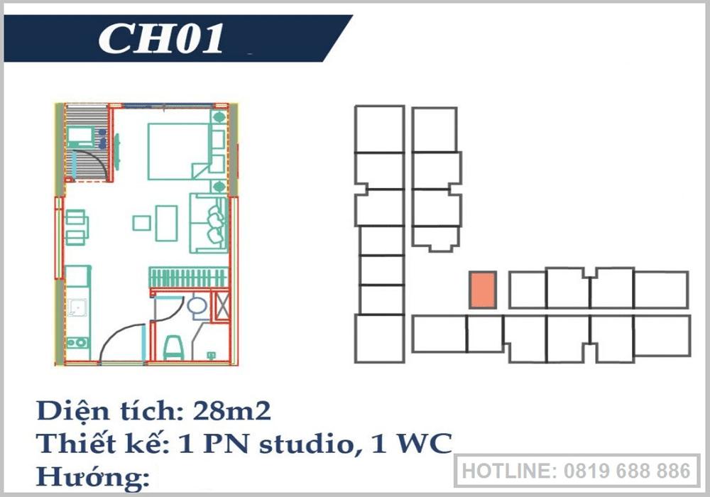 thiet ke can ho 1pn 28m2 studio vincity ocean park