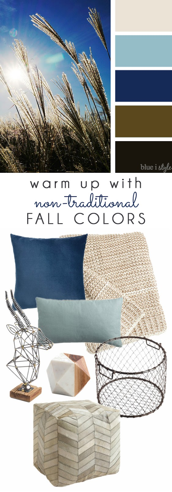 Blue and Neutral fall decor