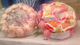 Tarta Chuches Pequeñas Caramelo Morado rosa y  rojo rosa y naranja