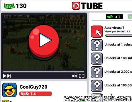 Tube clicker é um simulador de Youtube online. Você começa assistindo seus próprios vídeos, e com os views e dinheiro que conseguir vai divulgando e fazendo seu canal crescer.
