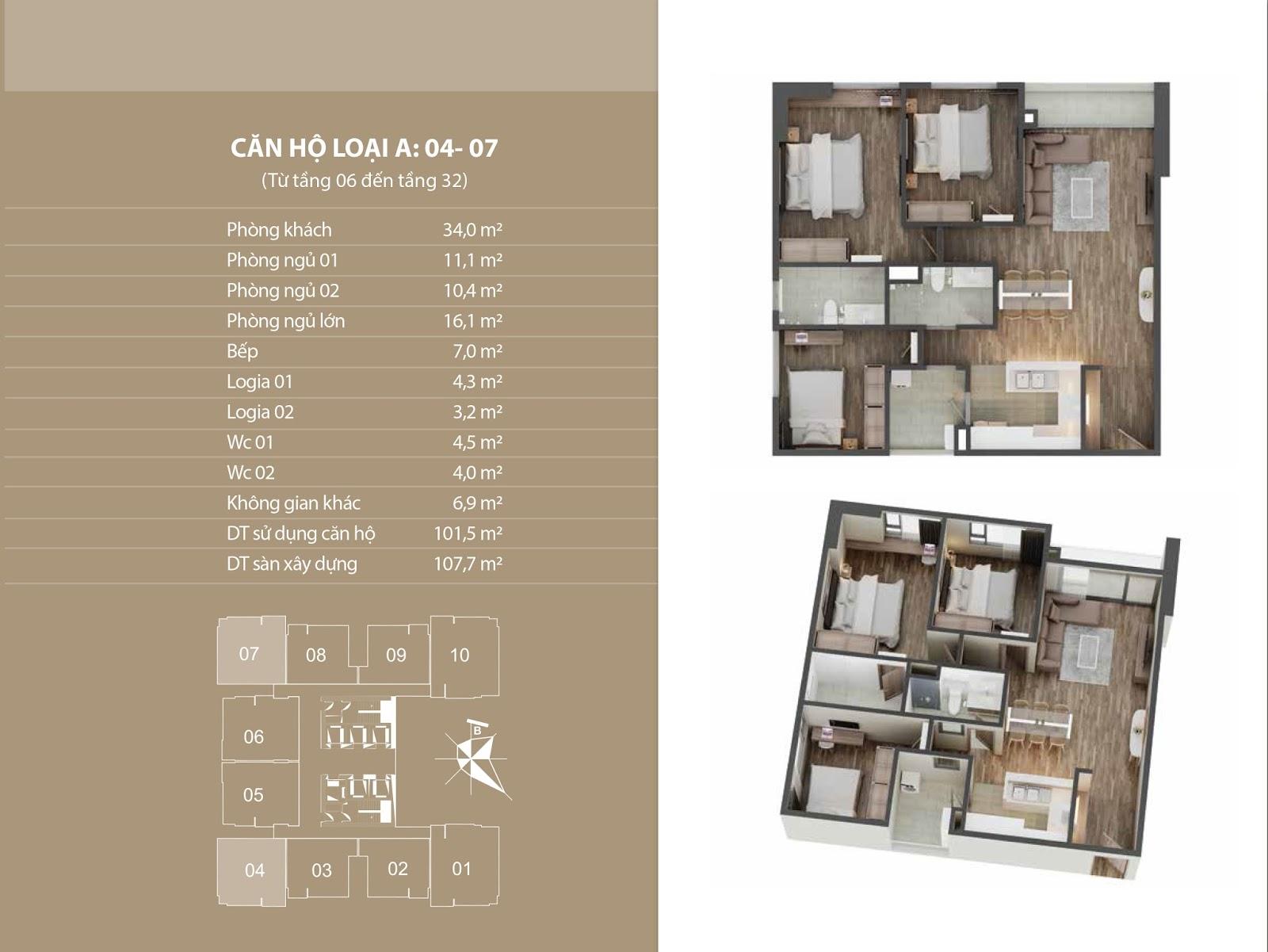 Vị trí căn 04 - 07 tại chung cư Phú Mỹ Complex  (N01T4 Ngoại Giao Đoàn)