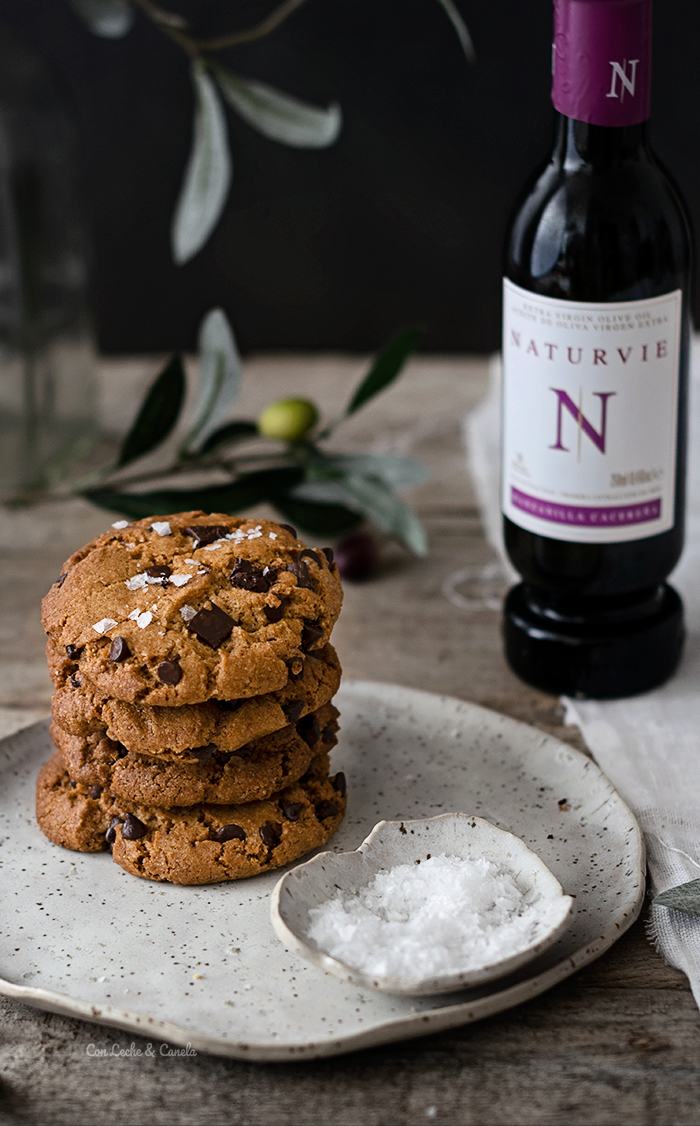 receta Cookies de aceite de oliva con chocolate a la flor de sal veganas