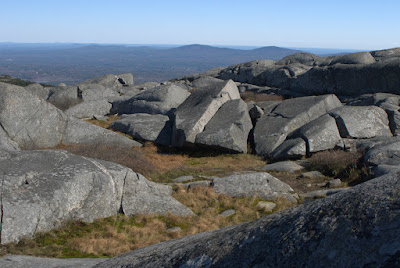 Jagged rocks and low plants at the top of Monadnock