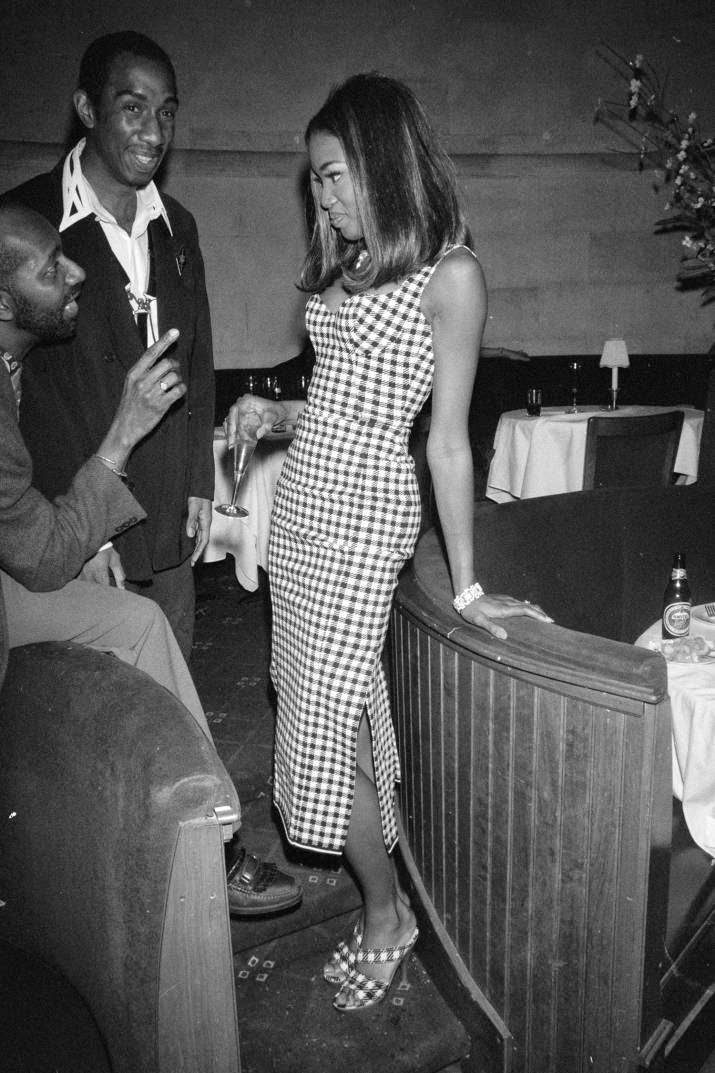 vintage 90s Naomi Campbell in check dress