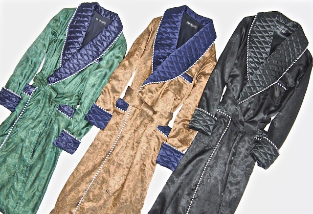Mens luxury paisley silk dressing gown quilted robe smoking jacket