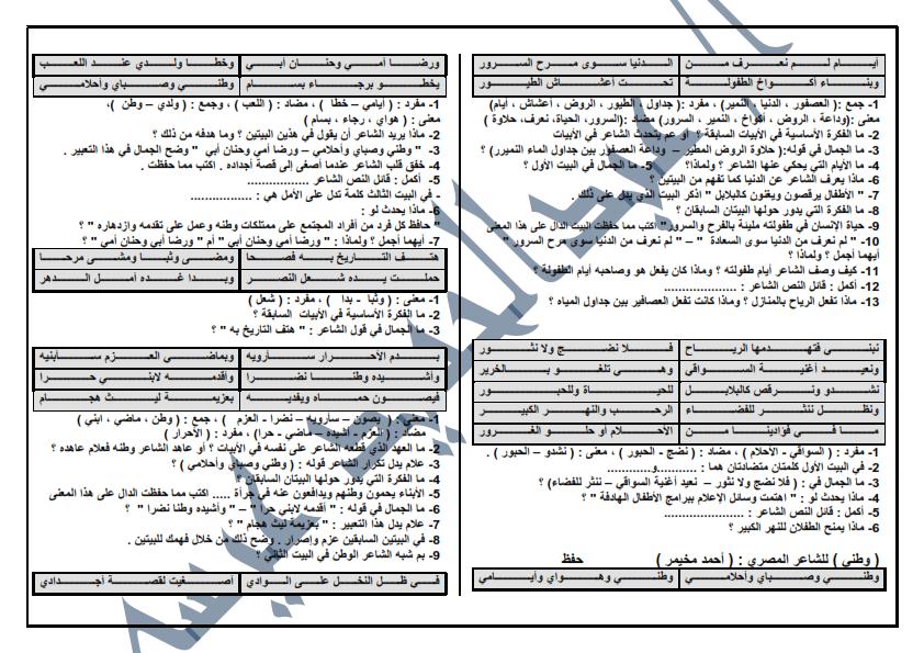 مراجعة ليلة الامتحان فى اللغة العربية للصف السادس الابتدائى 8 ورقات لن يخلووو منهم امتحان اخر العام 001%2B%25286%2529