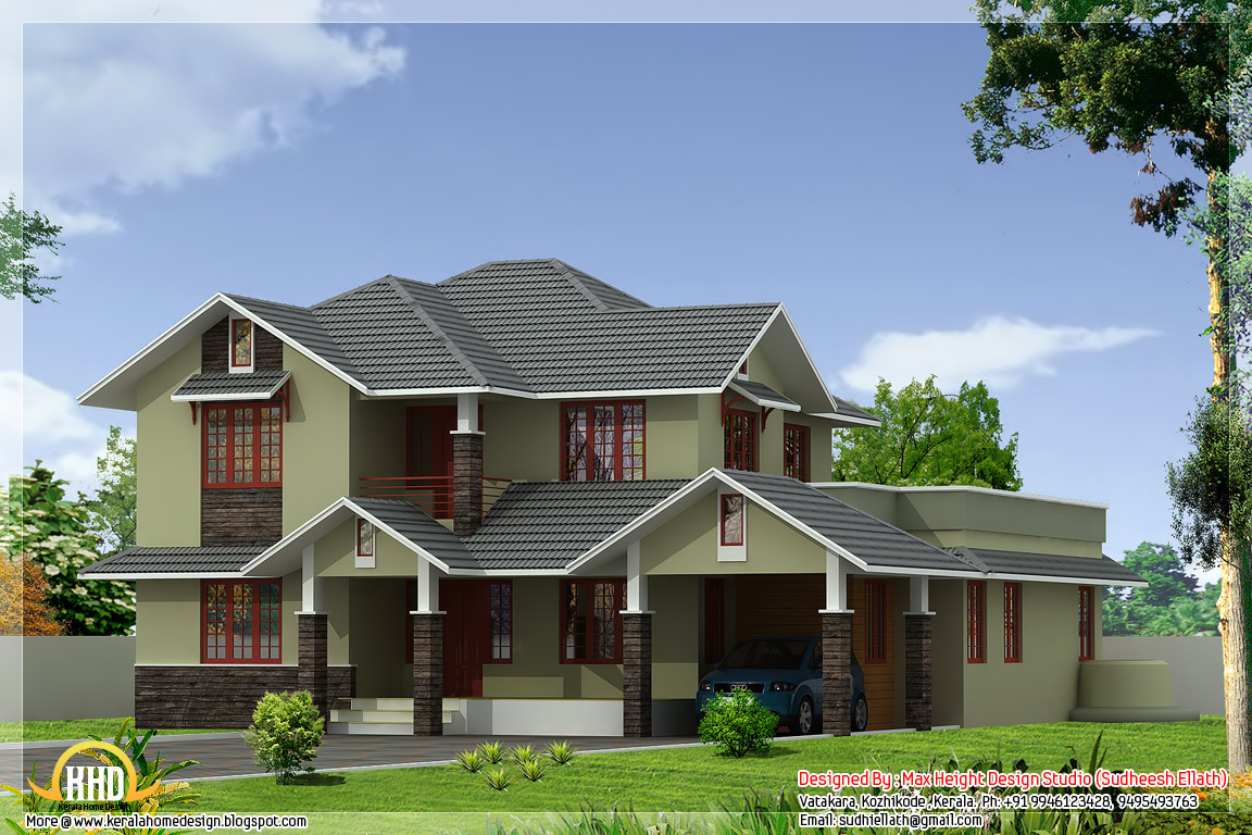 2 different 3d home elevations kerala home design and for Different style house plans