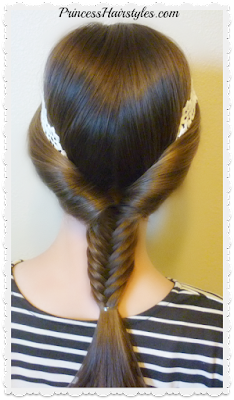 Fishtail braid with headband hairstyle tutorial.