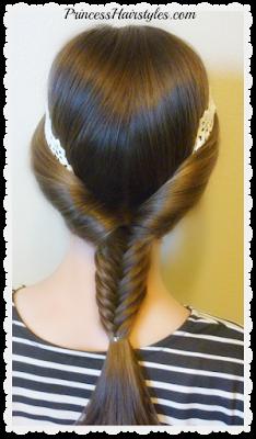 Fishtail braid with headband hairstyle tutorial.