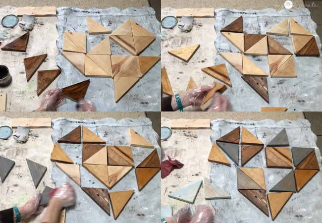 staining wooden heart pieces