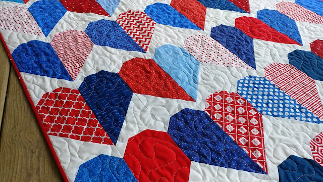 Red, white, and blue heart quilt for USS Fitzgerald