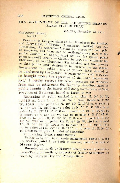 Executive Order No. 97 series of 1912, English version.