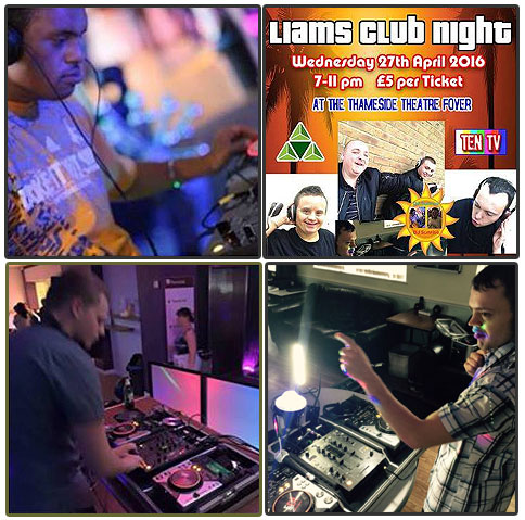 4 boxes including DJ pics from Liam's Club Night in Grays, Thurrock, UK.