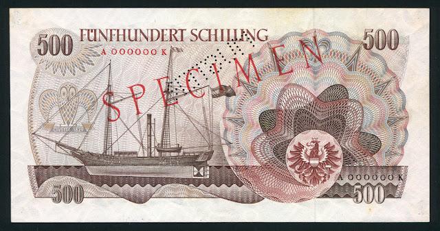 Austria currency euro 500 Austrian Schilling