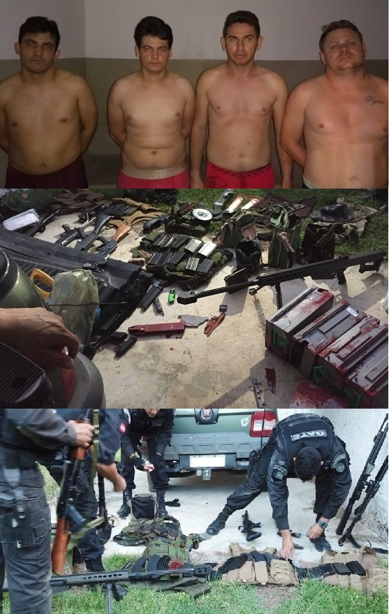 Resultado de imagem para imagens de Na Paraíba Polícias Civil e Militar mostram arsenal apreendido com assaltantes de carro-forte