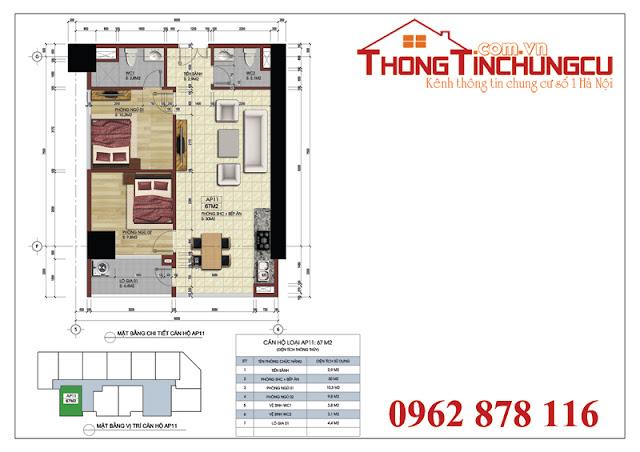 Thiết kế căn góc số 11A – Căn hộ số 11 tòa A vị trí góc dự án Central Field MBLand 219 Trung Kính – diện tích 67m2.