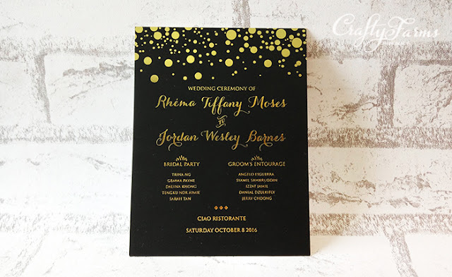 Elegant Hot Stamping Wedding Programme Card