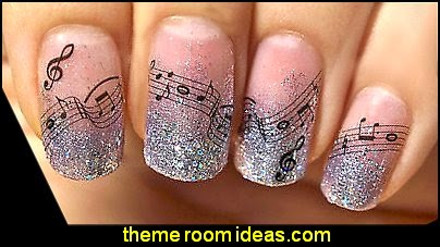 Music Nail Decals-Ar Notes Decoration Designer Wraps