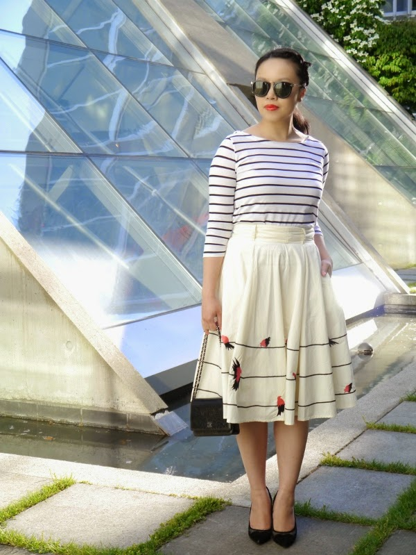 Breton stripes, bird-embellished midi skirt, Chanel