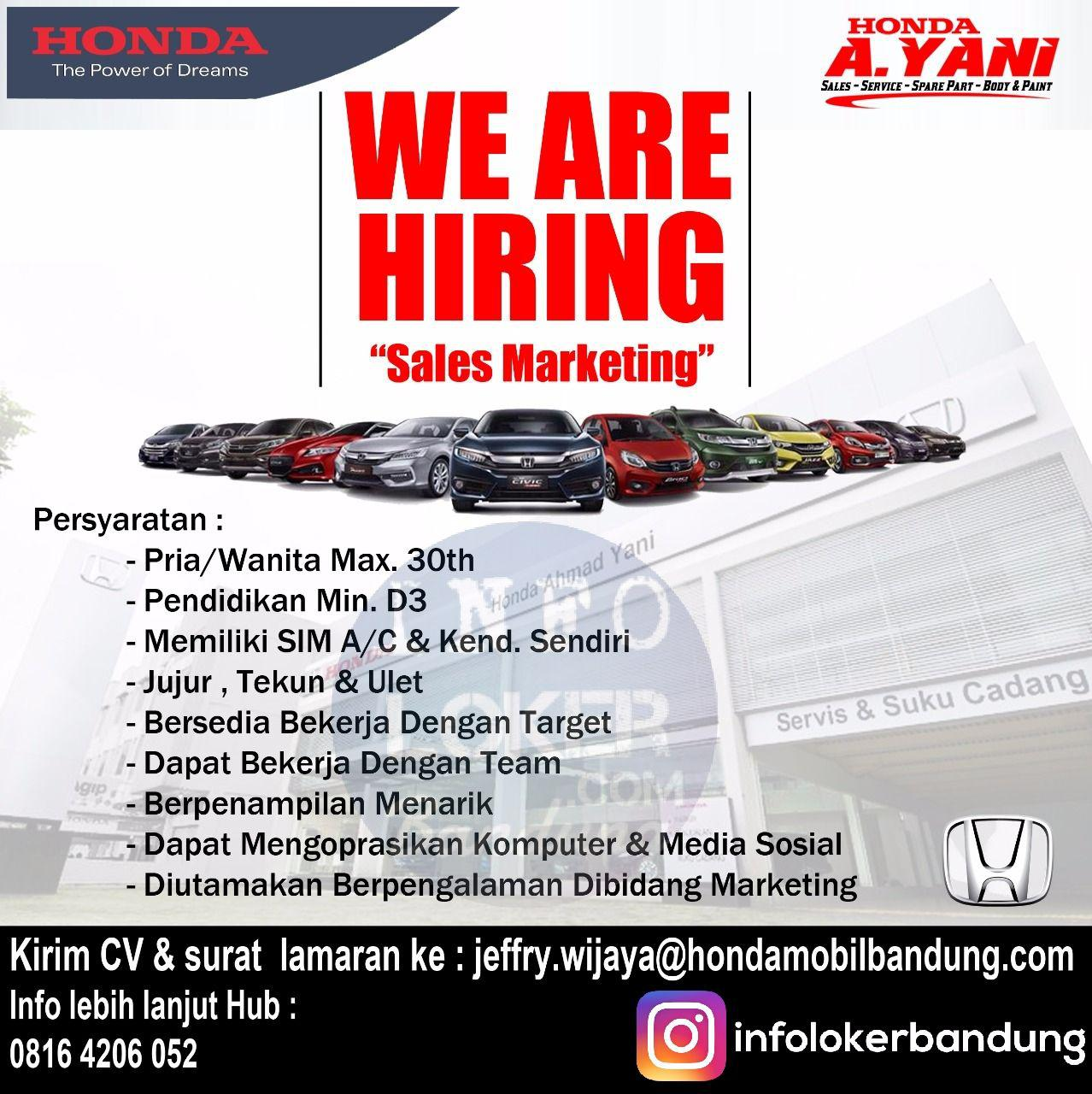 Lowongan Kerja Sales Marketing Honda Ahmad Yani Bandung Oktober 2017