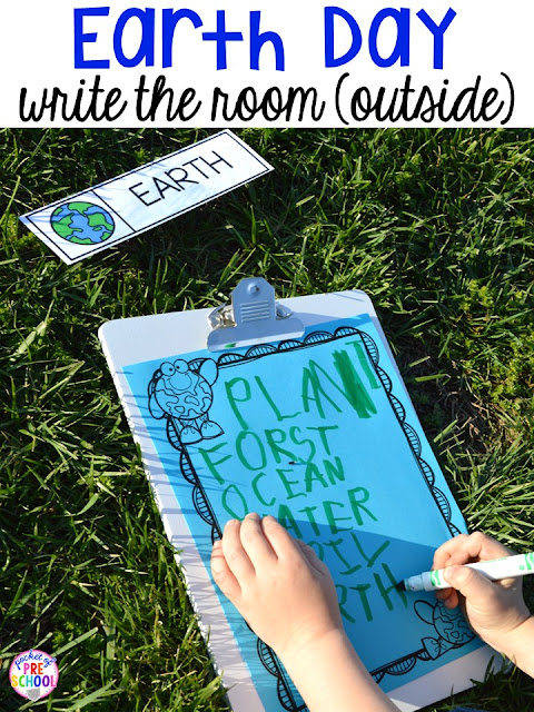 Earth Day write the room (outside). Plus FREE Earth Day vocabulary posters! Perfect for preschool, pre-k, or kindergarten.