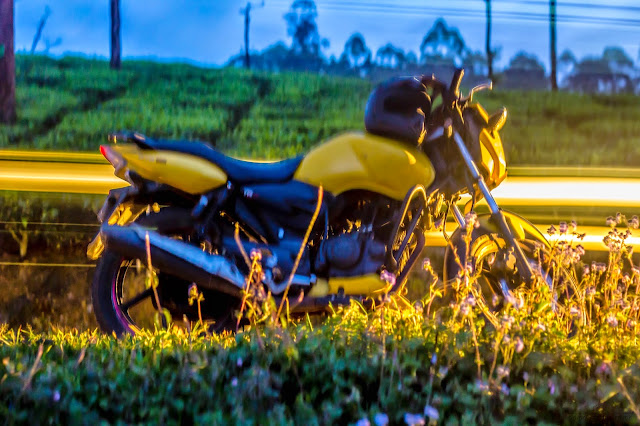 Night photography with long exposure with bike in foreground and tea plantation in background