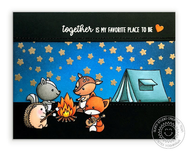 "Sunny Studio Stamps: Critter Campout Tent & Campfire ""Together Is My Favorite Place To Be"" Card by Mendi Yoshikawa"
