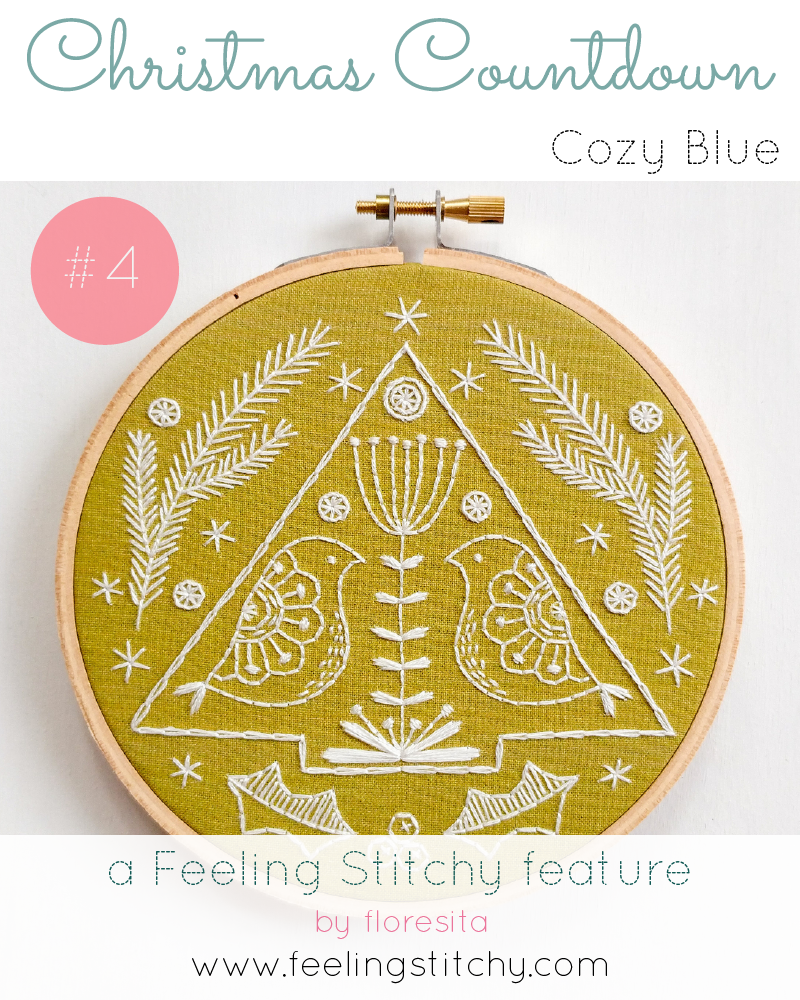 Christmas Countdown 4 - Cozy Blue Folk Holiday pattern, featured on Feeling Stitchy by floresita