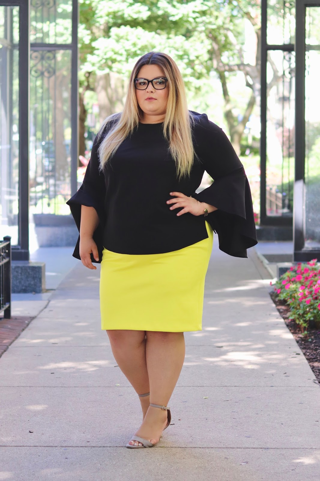 eloquii, chicago, Chicago fashion, natalie craig, natalie in the city, plus size office attire, plus size professional attire, plus size fashion blogger, affordable plus size fashion, eloquii Chicago, curves and confidence, midwest, plus size neoprene, blogger review