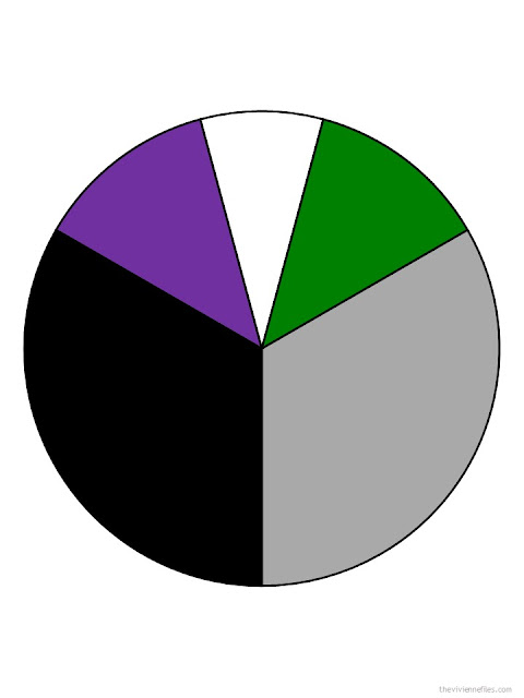 black, grey, strong purple, white and strong green