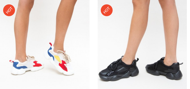 Adidasi cu talpa groasa ce se poarta in 2019 negri, albi