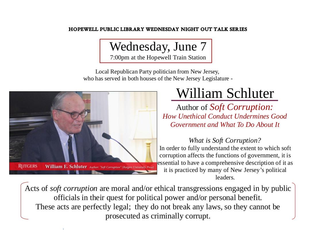 William Schluter, <small>Author: <i>Soft               Corruptions</i>