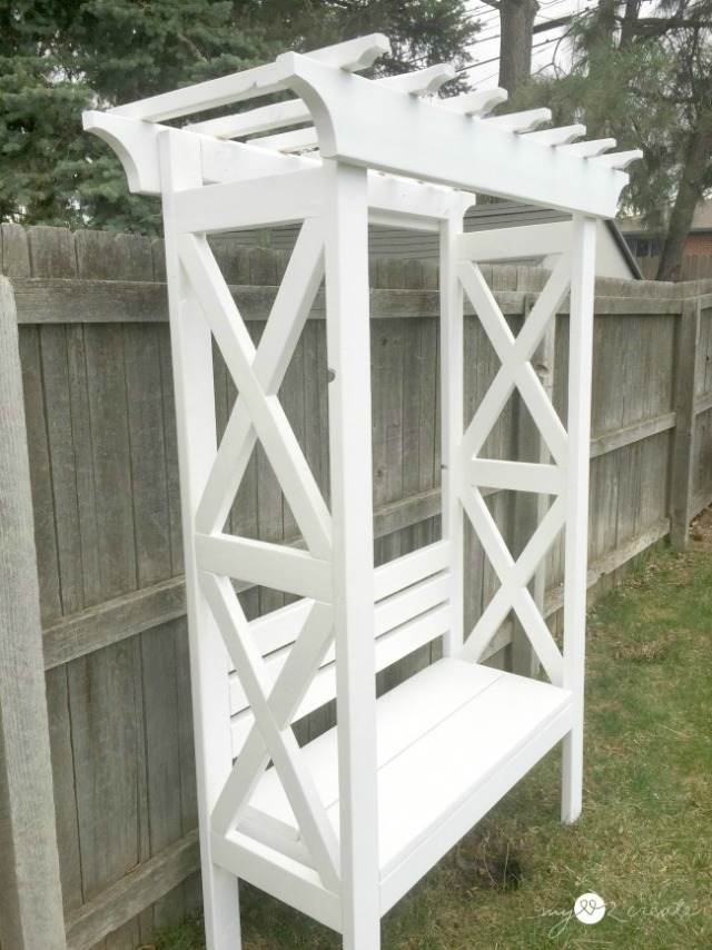 diy arbor style bench free plans