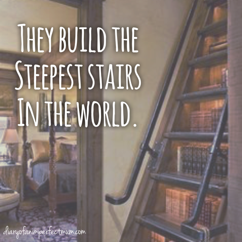 Text: They build the steepest stairs in the world - picture of steep stairs