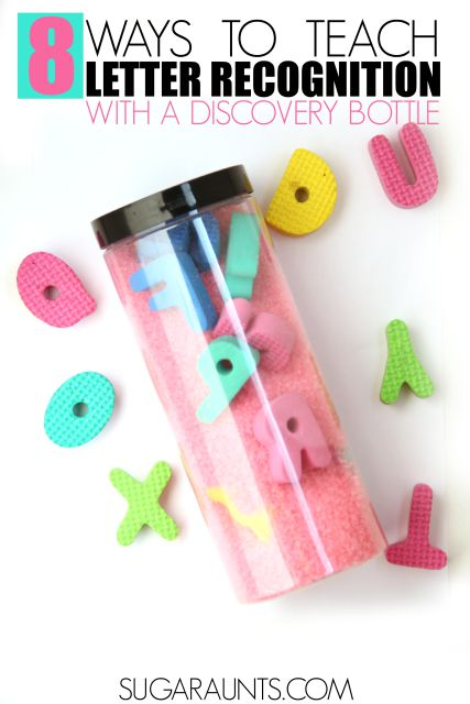 Alphabet letter recognition discovery bottle for preschool and kindergarten aged kids. This discovery bottle is fun for creative learning and sensory play with letter identification and recognition in kids.