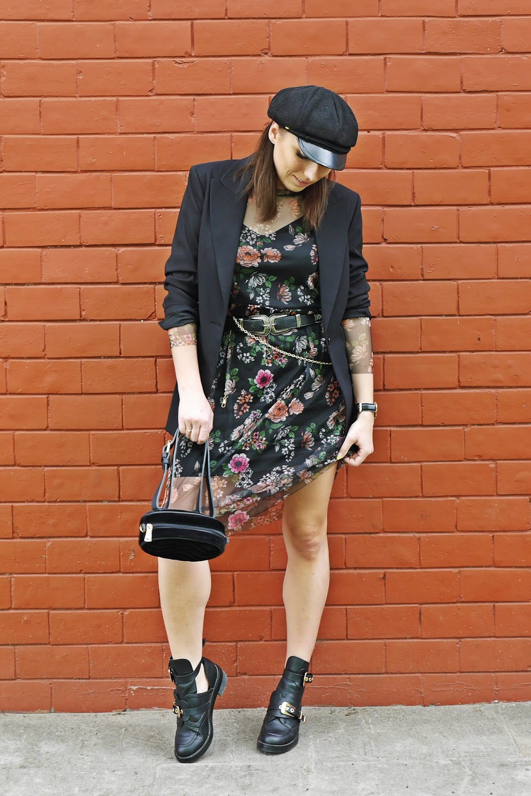 floral bonprix dress black jacket balenciaga cut out shoes outfit look karyn fashion blogger