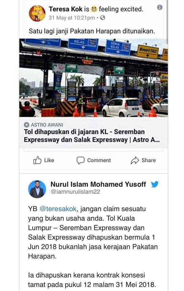 KL Seremban Express Way: Teresa Kok penipu besar mengenai pemansuhan tol!!