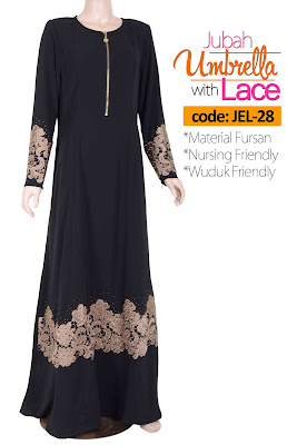 Jubah Umbrella Lace JEL-28 Black Depan 1
