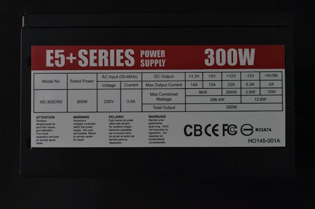 Andyson E5+ 300W -Passive PFC Single Rail True Power 8