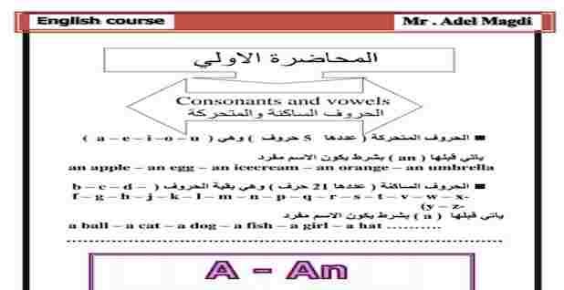 كورس أساسيات اللغة الإنجليزية للصفوف الابتدائية مستر عادل مجدى