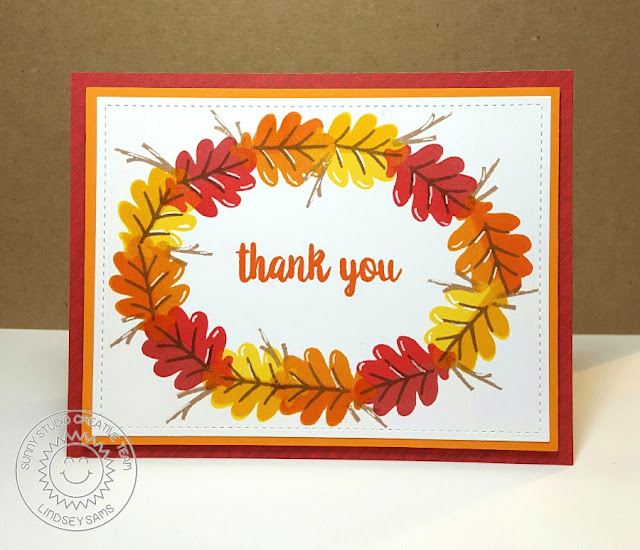 Sunny Studio Stamps: Autumn Splendor Fall Leaves Thank You Card by Lindsey Sams.