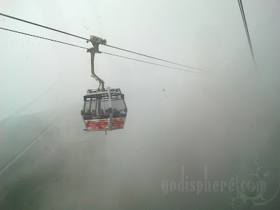 Cable Cars suddenly appearing inside the thick fog