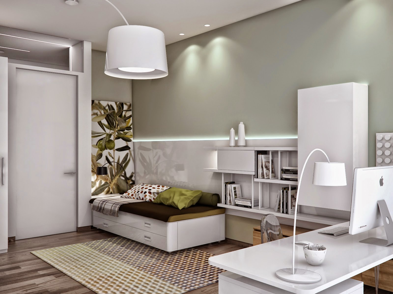 Ini Idea Soho Combine Dengan Bilik Tidur Aku Jenis Yang Moden Style Ringkas Tapi Menarik Color Ruang Nampak Luas Macam Hijau Dan Putih